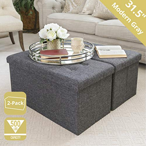 """Seville Classics WEBK617 31.5"""" Foldable Tufted Storage Bench Ottoman Footrest Toy Chest Coffee Table Trunk (2-Pack) Stool, Charcoal Gray from Seville Classics"""
