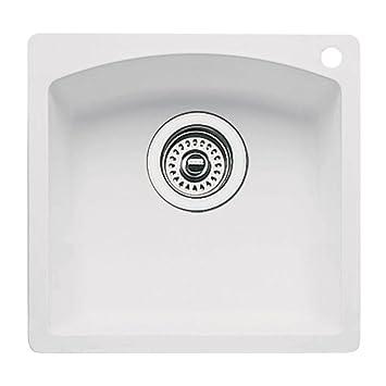 Elegant Blanco BL440205 Diamond Single Bowl Bar Sink, White