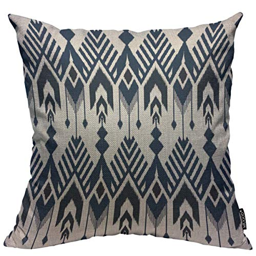 - Mugod Navy Blue Aztec Throw Pillow Cover Ikat Seamless Pattern Design for Fabric Home Decorative Square Pillow Case for Men Women Kids Bedroom Livingroom Cushion Cover 18