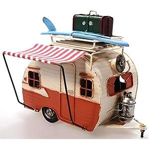 Unbekannt Wohnwagen aus Metall orange mit Rahmen und Spardose Camper Auto Oldtimer Nostalgie