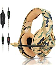 Gaming Headset for PS5, PS4, PC, Nintendo Switch, Xbox one Headset with 7.1 Stereo Sound, Over Ear Headphones with Noise Cancelling Mic, Wired Profession Gaming Headset, 50mm Drive - Camouflage