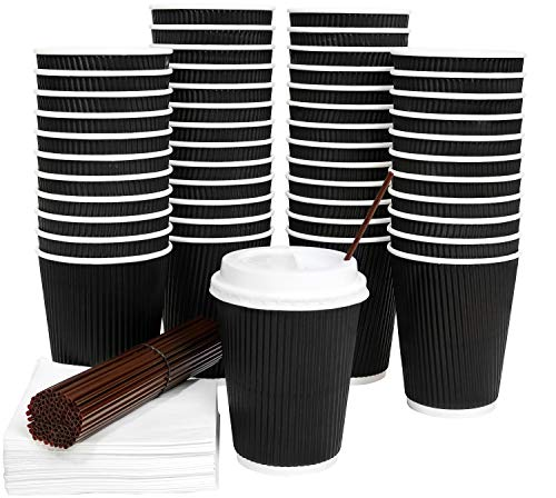Galashield 50 Pack Disposable Hot Paper Coffee Cups with Lids 12 Oz Ripple with Stirring Straws and Napkins