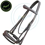Royal Fancy Anatomic Bridle & PP Rubber Grip Reins./ Vegetable Tanned Leather./ Brass Buckles.