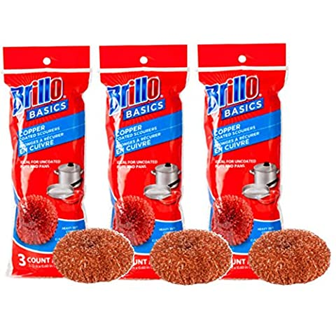 Brillo Basics Heavy Duty Copper Scourers, 3 Count, Pack of 3 (Total of 9)