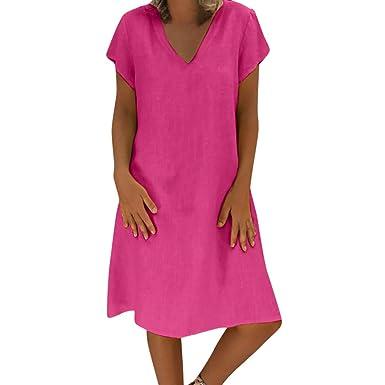 Amazon.com: Vestido para mujer, ✓ Hipótesis, manga corta ...