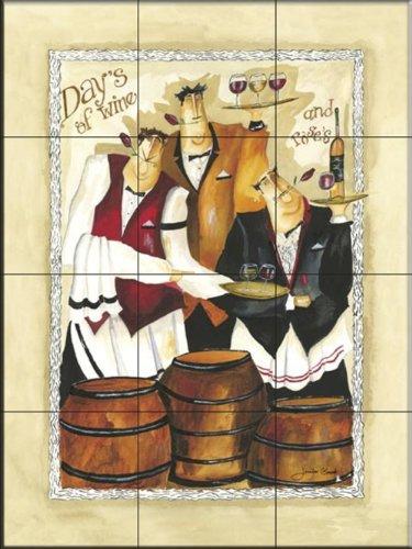 Ceramic Tile Mural - Days of Wine and Roses II- by Jennifer Garant - Kitchen backsplash/Bathroom -