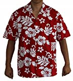Alohawears Clothing Company Made in Hawaii! Men's Hibiscus Flower Classic Hawaiian Shirt Collection (XL, Red/White)