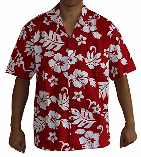 Mens New Cotton Hawaiian Shirt (Alohawears Clothing Company Made In Hawaii! Men's Hibiscus Flower Classic Hawaiian Shirt Collection (XL, Red/White))