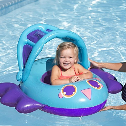 "Swimway 34"" Blue Inflatable Bird Baby Boat Sun Canopy Infant Pool Lounger - 9-24 months"