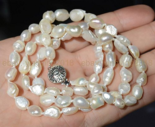 -10mm baroque white freshwater pearl necklaces 36