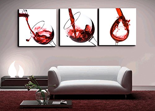 (Red Wine in the Glass Canvas Splash Wine Cup Posters and Prints Modern Painting Picture Wall Art for Kitchen,Dining Room,Bar,Restaurant Home Decor Gallery-wrapped Art 3 Piece Set Framed(60''Wx20''H))