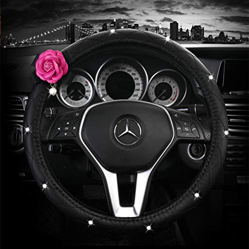 Car Steering Wheel Covers Leather with Flower Steering Wheel Cover Universal 15 inch for Auto Truck SUV (C-Black+Red)