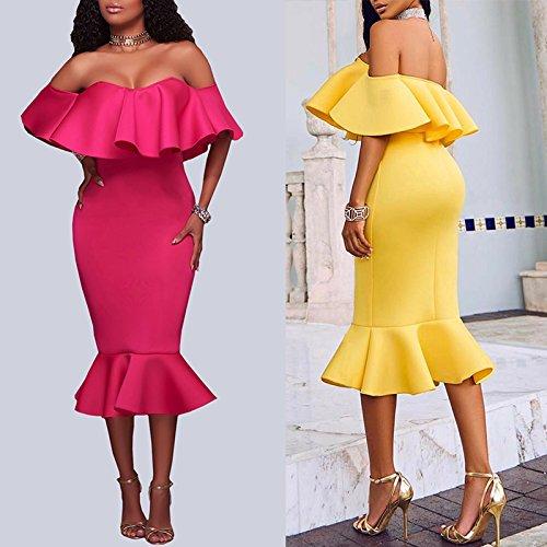 Mujer Boutiquefeel Amarillo para Hombros Volante con Vestido Midi Dress Escote Tirante sin de Pw7qPBOxr