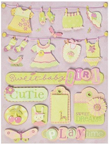 K&Company Brenda Walton Small Wonder Girl Clothesline Grand Adhesions Stickers