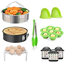 Cooking Accessories Set Compatible with Instant Pot 5,6,8 Quart Qt Pressure Cooker with Stainless Steel Steamer Basket, Egg Steamer Rack, Non-stick Springform Pan, 1 Pair Silicone Cooking Pot Mitts By MIBOTE (10PCS)