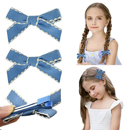 DEEKA 2 Pack Hair Clip Hair Bows Fringe Clip for Little Girls - Light ()