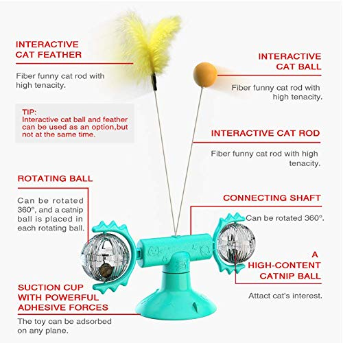 POSO Windmill Cat Toy Turntable for Interactive - Teasing Cat Toys Bring Catnip, Badminton Stick and Funny Ball,Funny Cat Interactive Toy, Blue