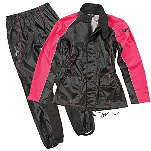Joe Rocket RS2 Womens 2-Piece Motorcycle Rain Suit (Black/Pink, Large) (Best Waterproof Motorcycle Suit)
