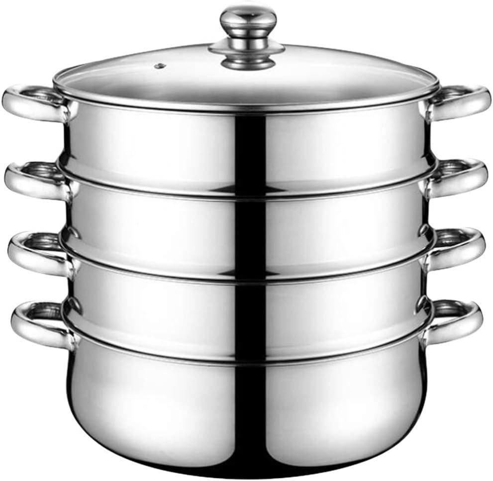 HEMOTON Stainless Steel 4 Tier Steamer Pot Steaming Cookware Multifunction Steam Soup Pot