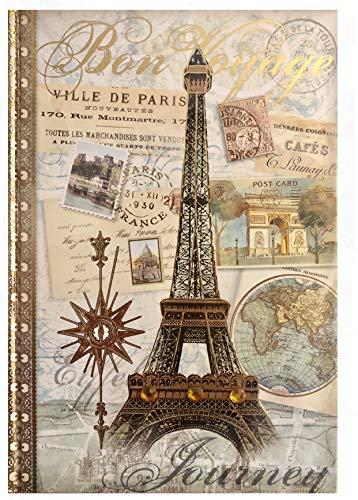 Pooch & Sweetheart Gold Foil Gem Embellished Journal, Bon Voyage Paris 77807