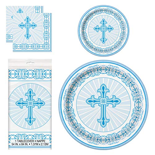 (Unique Blue Radiant Cross Party Bundle | Luncheon & Beverage Napkins, Dinner & Dessert Plates, Table Cover | Great for Church and Religious Events)