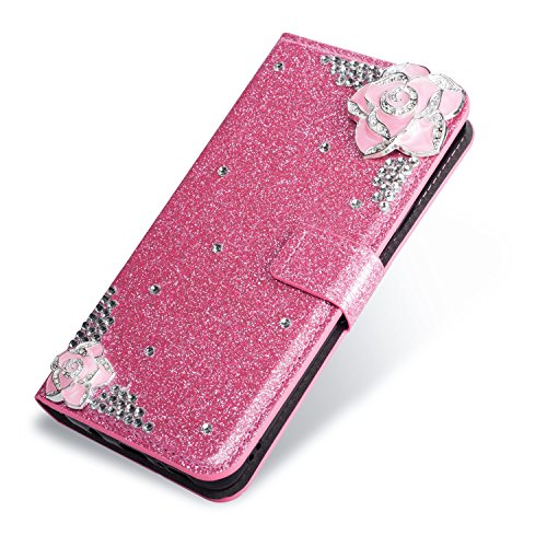 SevenPanda Luxury Bling PU Leather Wallet Case for Hua Wei P9 Lite, Diamond Glitter Crystal Rhinstone 3D Camellia Flower Magnetic Flip Folio Case for Huawei P9 Lite 2016 - Pink