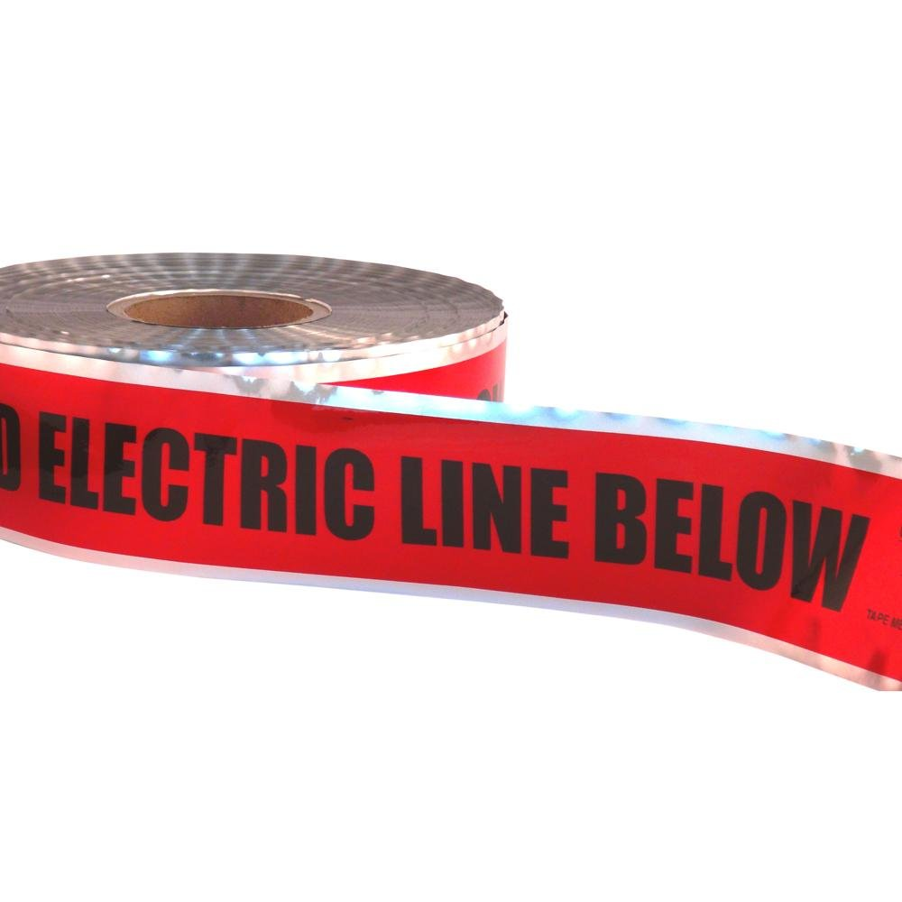 3 x 1 Red 3 x 1 000/' Size Fotronic Corporation 000 Size Ideal 42-201 Detectable UndergroundCaution Buried Electric Line Below Tape