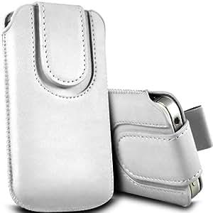 ONX3 Alcatel One Touch Idol 2 Leather Slip protectora magnética de la PU de cordón en la bolsa de la liberación rápida (Blanco)