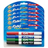 EXPO Low Odor Dry Erase Markers, Fine Tip, Assorted Colors, 6 Packs of 4