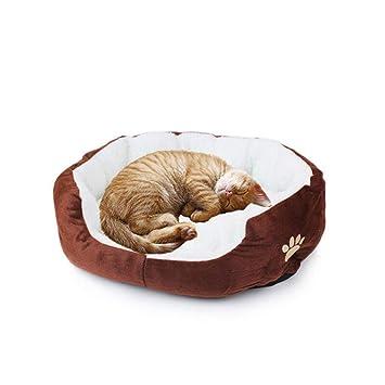 WA 1 pcs mascota gato cama redonda o forma ovalada hoyuelo forro polar cama nido para perros mascotas alfombrilla para gatos o perros pequeños: Amazon.es: ...