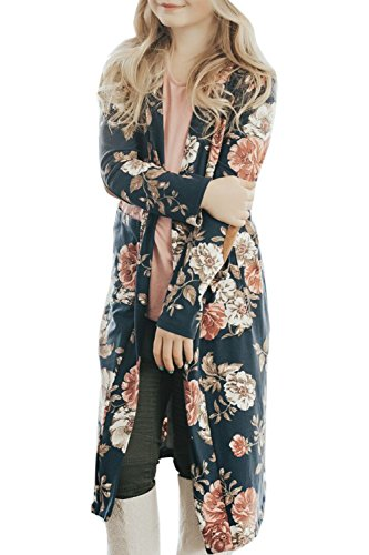Girls Cardigan Cover Ups Fall Clothes Floral Long Sleeve Kimono Shirt Tops with Pockets Blouse Navy Blue Size 9-11 T (Cardigan Girls Long)