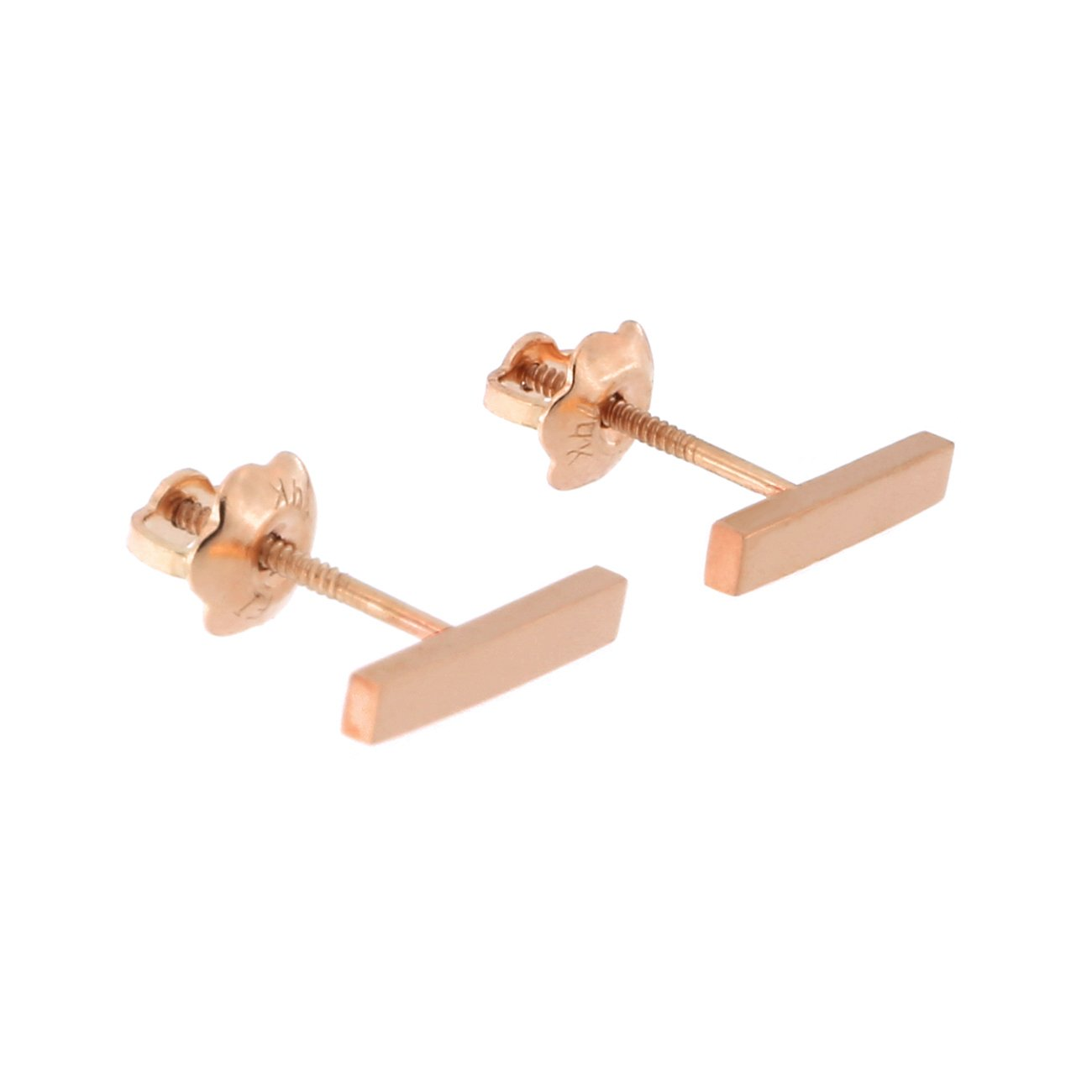 Automic Gold Solid 14k Yellow, White or Rose Gold Bar Earrings (Rose Gold - Screwback)