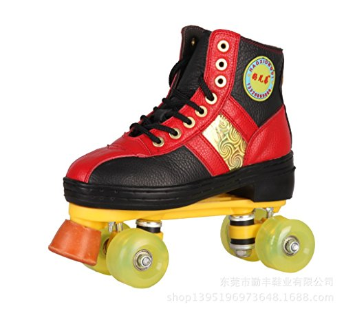 Red Double Row (Ling@ Rink roller skates ice skate top layer leather skating rink dedicated double-row roller skates , red and black , 8 wheel full flash)