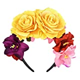 DreamLily Day of The Dead Headband Costume Rose Flower Crown Mexican Headpiece BC40 (Mexican Festival Crown Yelllow)