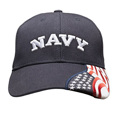 Embroidered USA Flag Adjustable Cap 100% Cotton Basball Hat - NAVY BLUE
