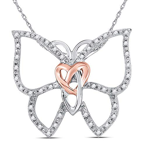The Diamond Deal Sterling Silver Womens Round Diamond Butterfly Bug Heart Pendant 1/10 Cttw
