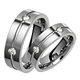 Alain Raphael Stunning Titanium Diamond Ring With Center Groove 6 Millimeters Wide Wedding Band Set