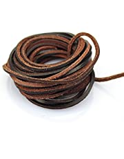 LolliBeads (TM) 3mm Flat Genuine Leather Strip Cord Braiding String Dark Brown Espresso (5 Yards)