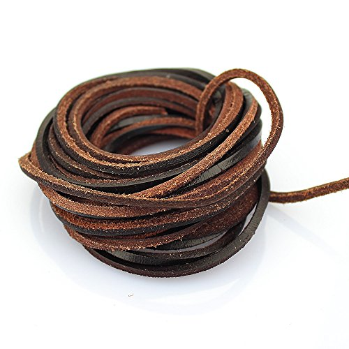 LolliBeads  3mm Flat Genuine Leather Strip Cord Braiding Str