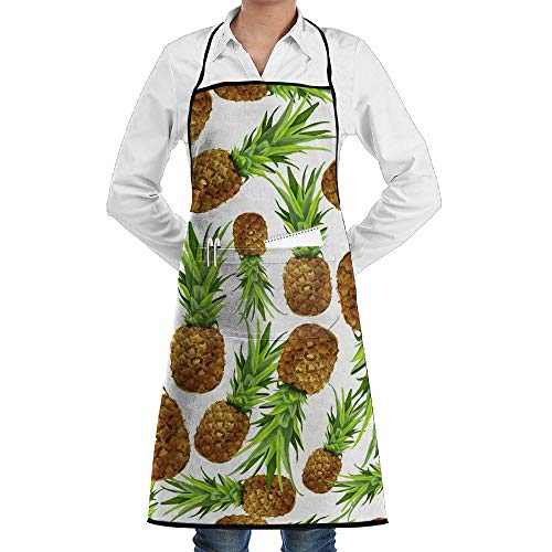 LOGENLIKE Pineapple Pattern Kitchen Aprons, Adjustable Classic Barbecue Apron Baker Restaurant Black Bib Apron With Pockets For Men And Women