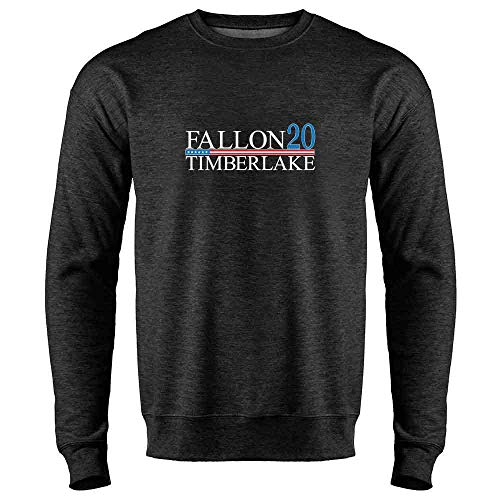 Pop Threads Fallon Timberlake 2016 Presidential Election Funny Heather Charcoal Gray L Mens Fleece Crew Sweatshirt