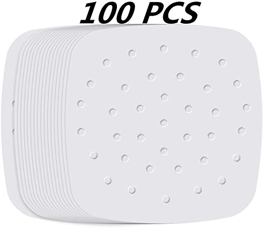 SAKOLLA 200pcs Air Fryer Parchment Paper Steaming Basket and More 8.5 inch Perforated Unbleached Air Fryer Liners//Square Parchment Liner for Air Fryer
