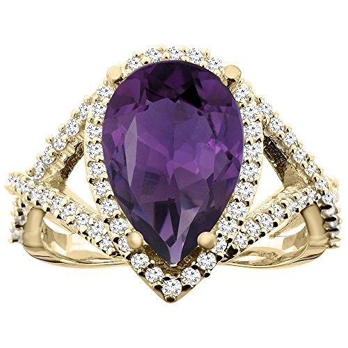14K Yellow Gold Natural Amethyst Ring Pear 12X8mm Diamond Accent, size 8.5