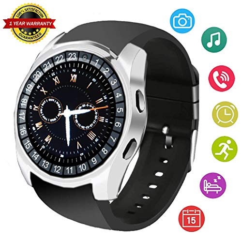 Smart Watch Bluetooth Smart Wrist Watch Smartwatch Unlocked Phone Fitness Tracker SIM SD Card Slot Camera Pedometer Compatible with Android iPhone X 8 7 Plus 6S Samsung S9 S8 S7 LG for Women Men Kids