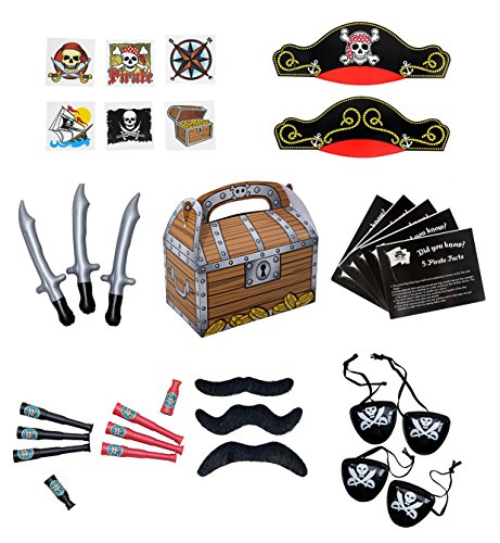 Best Make It Yourself Halloween Costumes (Pirate Party Supplies and Pirate Favor Toy Bundle. 252 Piece Complete Kit Featuring Pirate Themed Inflatable Swords, Tattoos, Mustaches, Eye Patches, Telescopes, Hats, and Fun Pirate Fact Card!)
