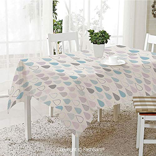 AmaUncle Party Decorations Tablecloth Big Droplets Motif Filled