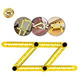 Multi Angle Measuring Ruler,Measuring Tools-Template Tool for All Angles & Shapes,Multi Functional Ruler Best for Craftsmen Handymen Builders Carpenter DIY(Yellow)