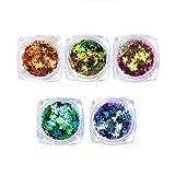 5 caja Lentejuelas de uñas con brillo de hoja de arce Nail Art Flakes Paillette Consejos para uñas Etiqueta engomada del brillo Decoración de bricolaje de uñas de manicura con brillo (color aleatorio)