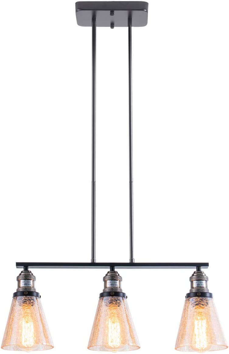 SHENGYADI 3-Light Amber Crackled Glass Pendant Light Modern Kitchen Island Lighting Dining Room Lighting Fixtures Hanging, Matte Black Finish