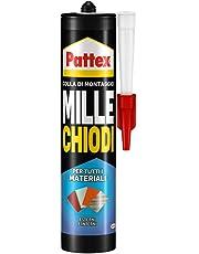 Pattex Millechiodi Esterni & Interni, adesivo extra forte in cartuccia per montaggi esterni, adesivo resistente per legno, ceramica, metallo, con presa immediata, 1x450g